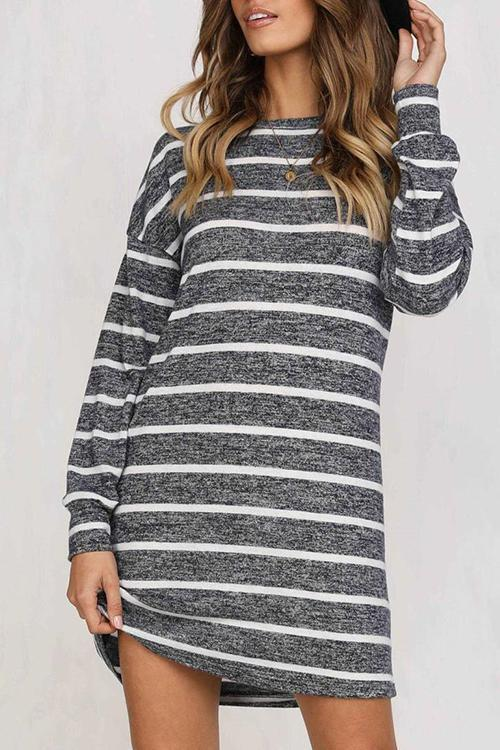 Dreamfitting Autumn Grey Striped Mini Dress