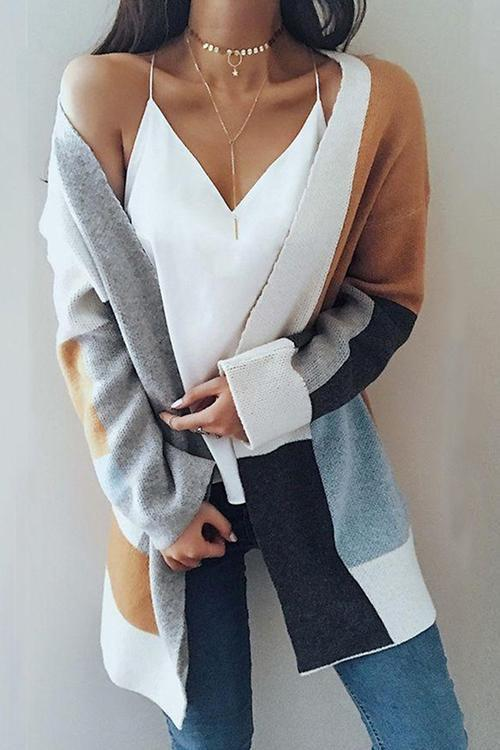 Dreamfitting Patchwork Long Cardigan Sweater(3 Colors)