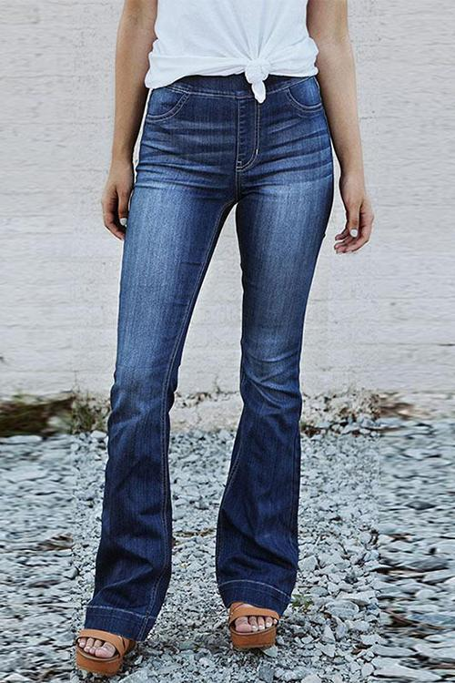 Dreamfitting Denim Casual Solid Mid Elastic Waist Jeans