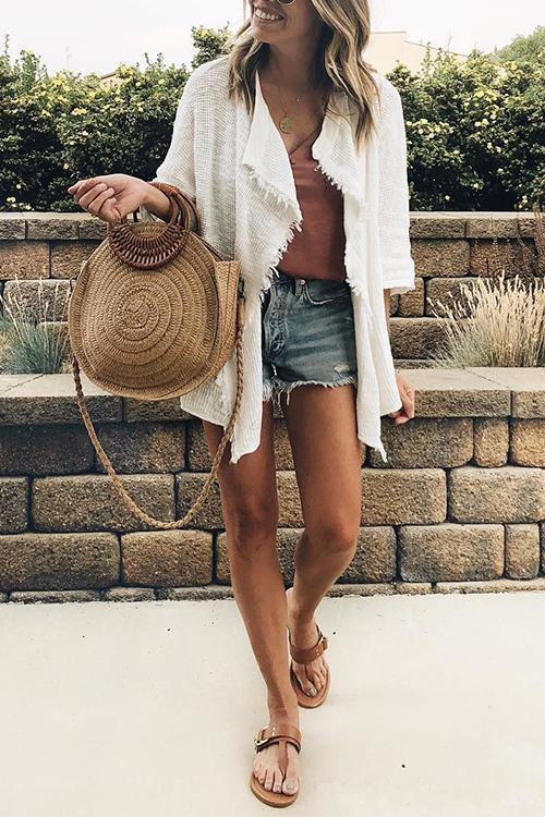 Dreamfitting Elegant Tassel White Cardigan Sweaters