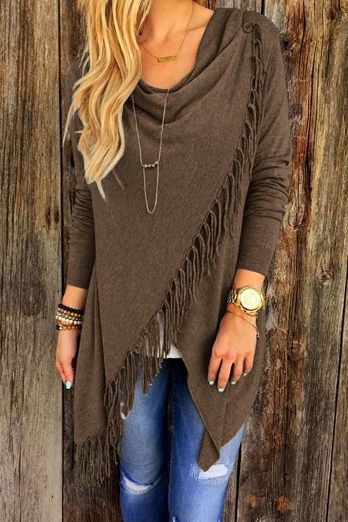 Dreamfitting Asymmetrical Tassel Cardigan