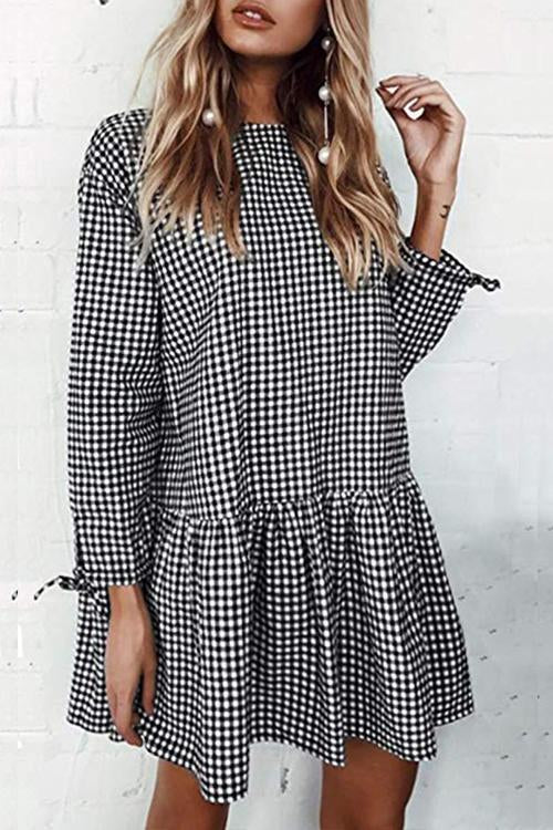 Dreamfitting Misty Morning Black & White Plaid Mini Dress