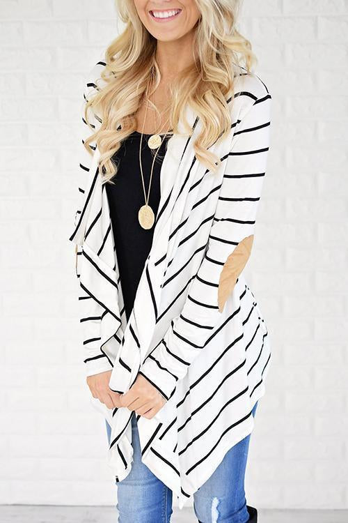 Simple Striped Word Cardigan Sweaters
