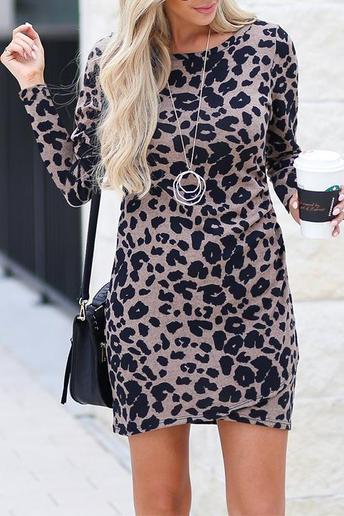 Dreamfitting Fashion Leopard Printed Mini Dress