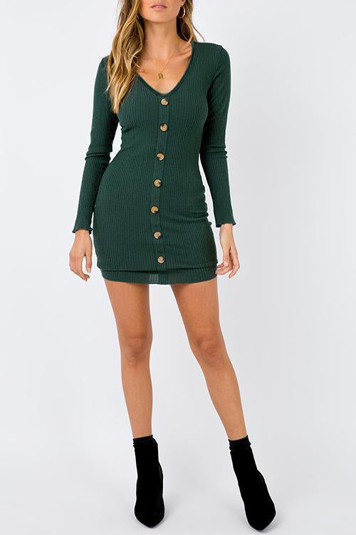 Dreamfitting Casual Buttons Decorative Green Mini Dress
