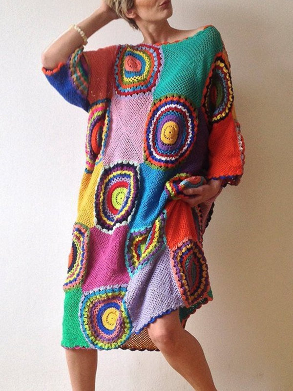 Multicolor Boho Geometric Color-Block Dresses