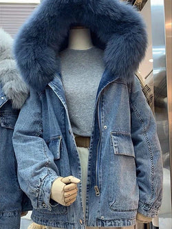 Plus Size Autumn Casual Outwear Faux Fur Denim Long Sleeve Hoodie Jacket