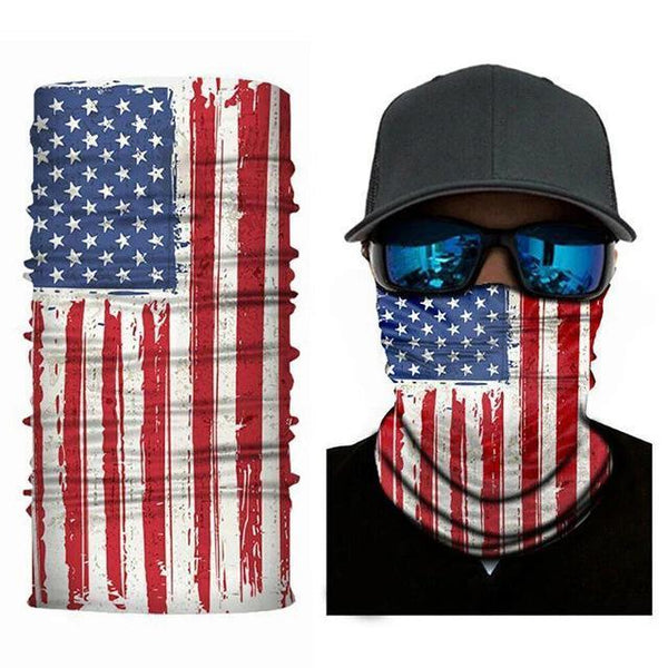 Face Mask and Neck Warmer with Dust and Sun UV Protection (US Flag)