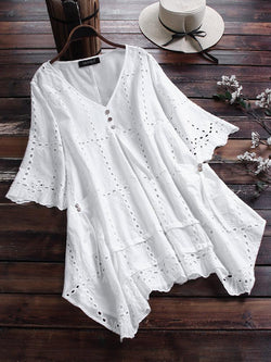 Embroidery Hollow V-neck Half Sleeve Casual Blouse