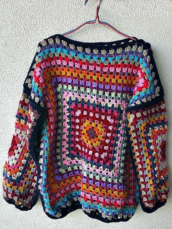 Plus Size Knitted Long Sleeve Crew Neck Paisley Sweater