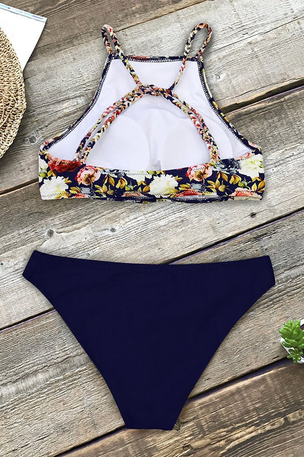 Floral And Navy Braided Strap Bikini