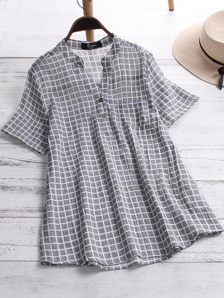 Casual Plaid V-neck Short Sleeve Plus Size Shirt with Pockets