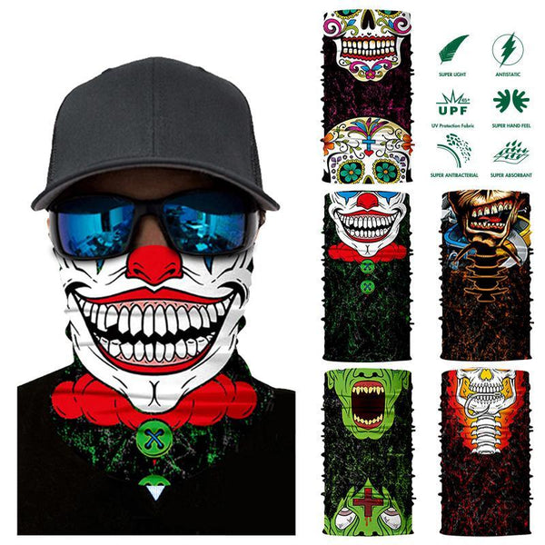 3D Clown Seamless Magic Neck Gaiter Face Mask Shield