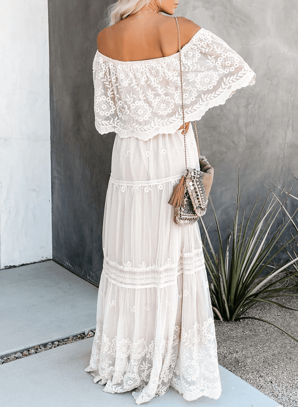 Off The Shoulder Lace Maxi Dress
