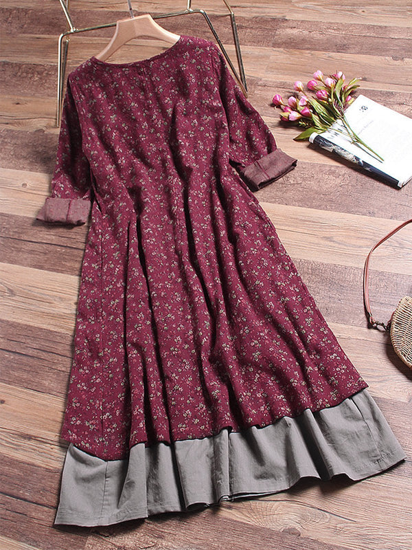 Vintage Long Sleeve Casual Dress