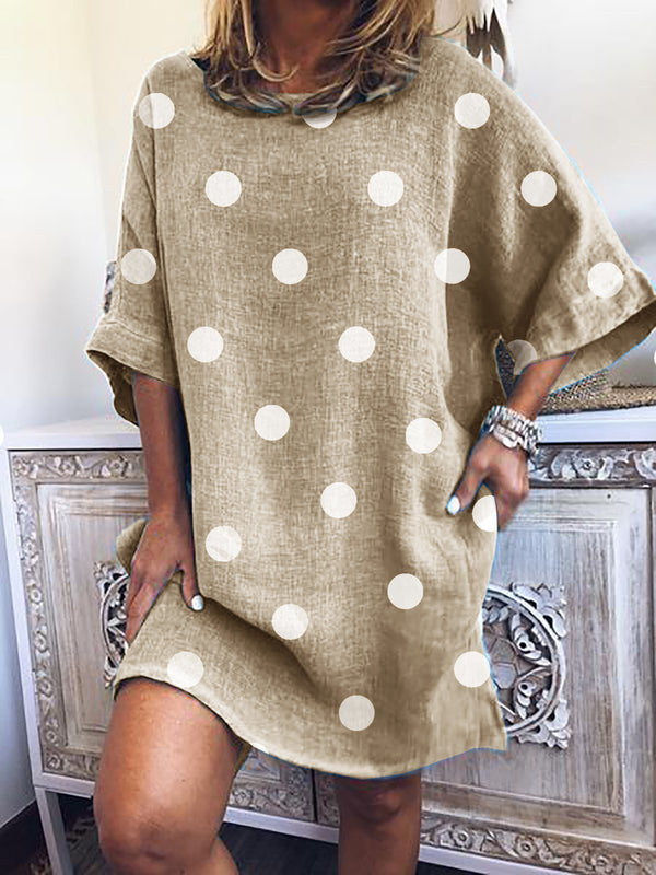 Polka Dots Shift Tunic Mini Dresses