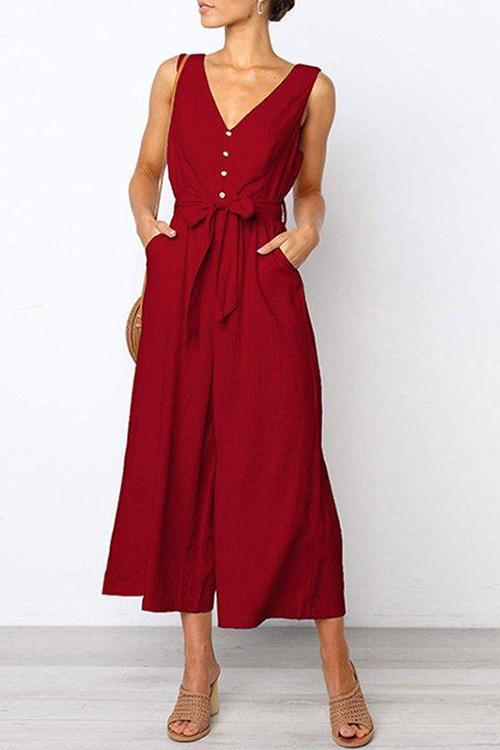 Sweet Appliqued Cotton V Neck Jumpsuits