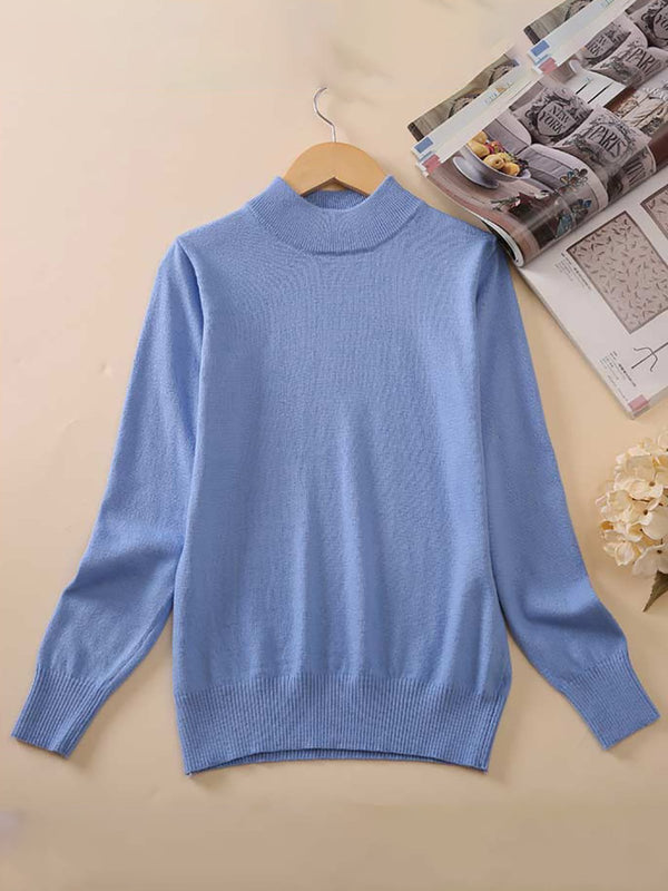 Wool Pure Cashmere Sweater Women Thicken Pullovers Pull Femme Half High Neck Knitting Sweaters