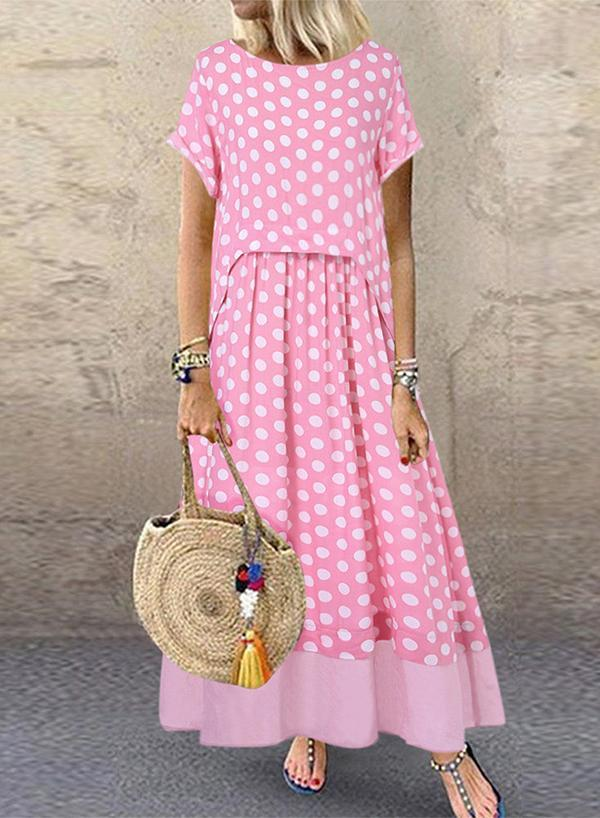Vintage Polka Dot Fake Two Pieces O-Neck Short Sleeve Maxi Dress