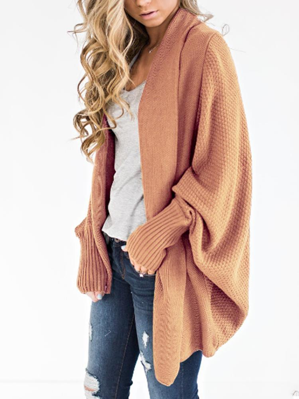 Woven Dolman Sleeve Solid Color Cardigan