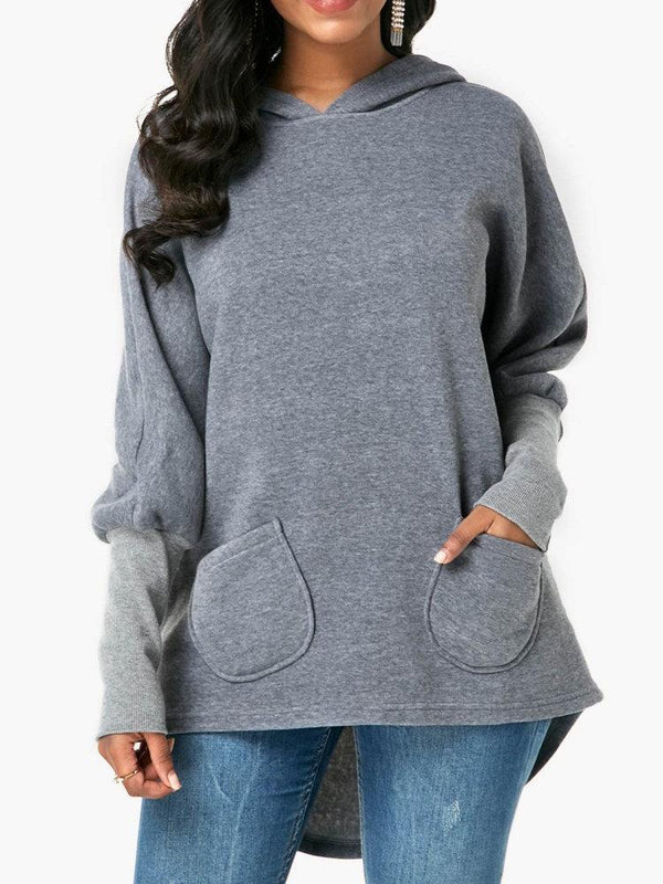 Casual Pocket Irregular Hem Hoodie for Women