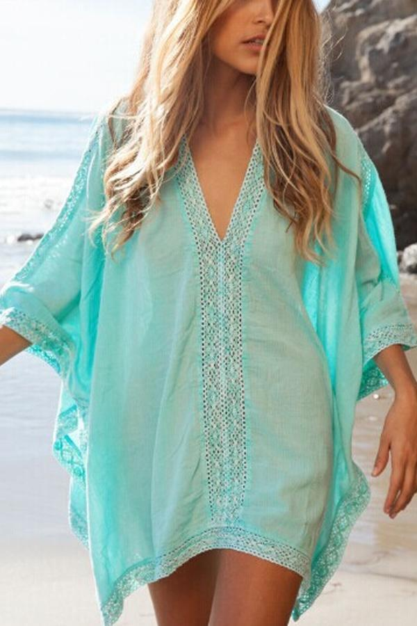 Solid Color Half Sleeve Bikini Cover Up
