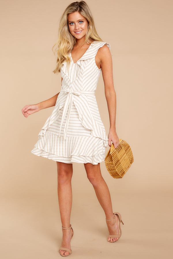 2 To Be With You Taupe Multi Stripe Dress at reddressboutique.com