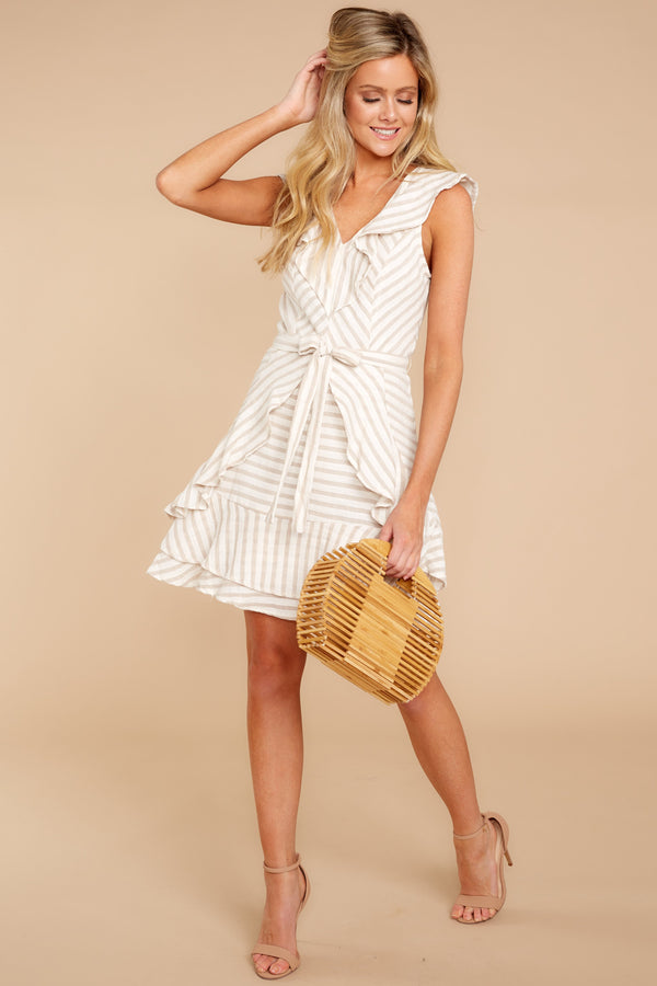 1 To Be With You Taupe Multi Stripe Dress at reddressboutique.com