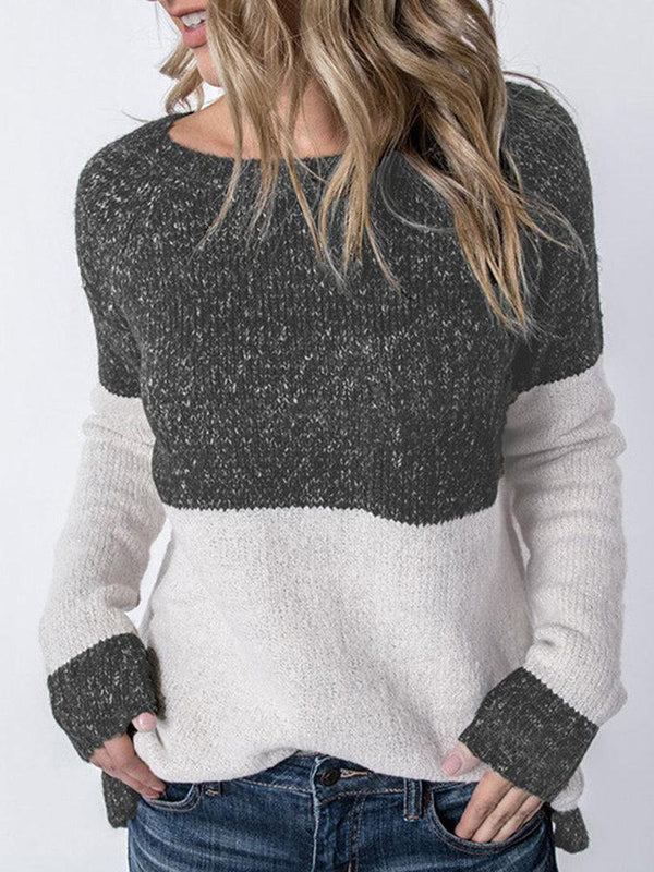 Patchwork Long Sleeve Crew Neck Sweater