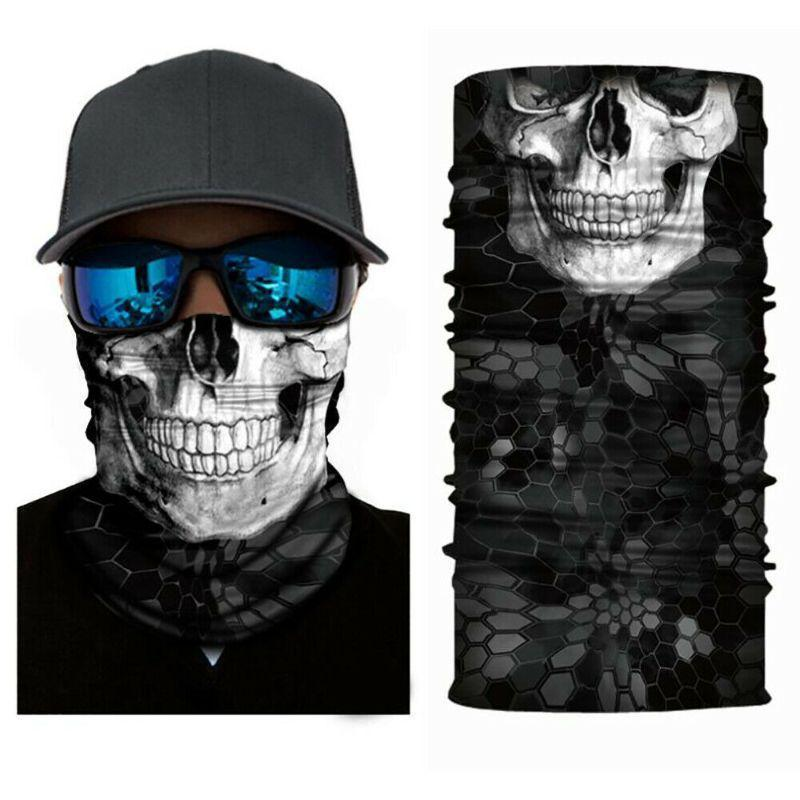 Face Mask and Neck Warmer with Dust and Sun UV Protection for Snowboarding-Skull Grey-Daily Steals