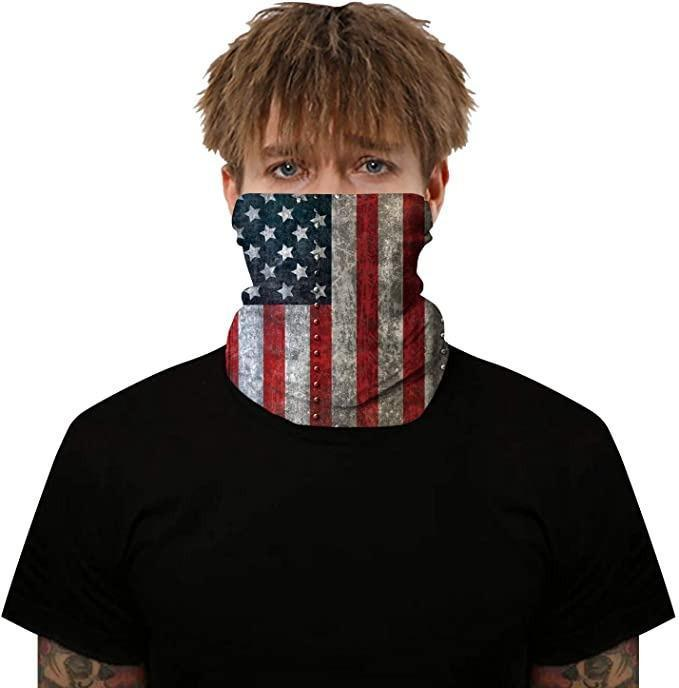 Men's 3D Viking Odin's Raven Print Seamless Bandana Rave Face Mask