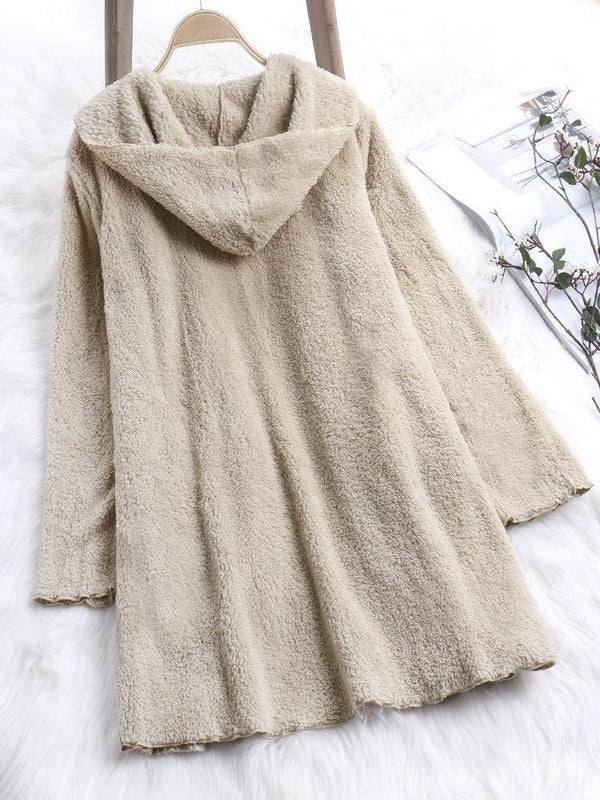 Casual Pure Color Long Sleeve Plush Coat for Women