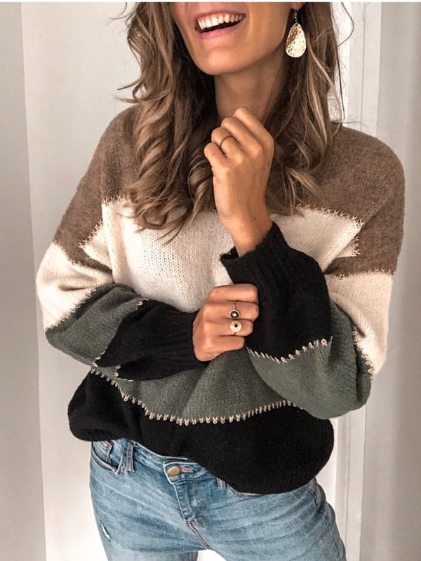 Color-block Long Sleeve Casual Crew Neck Sweater
