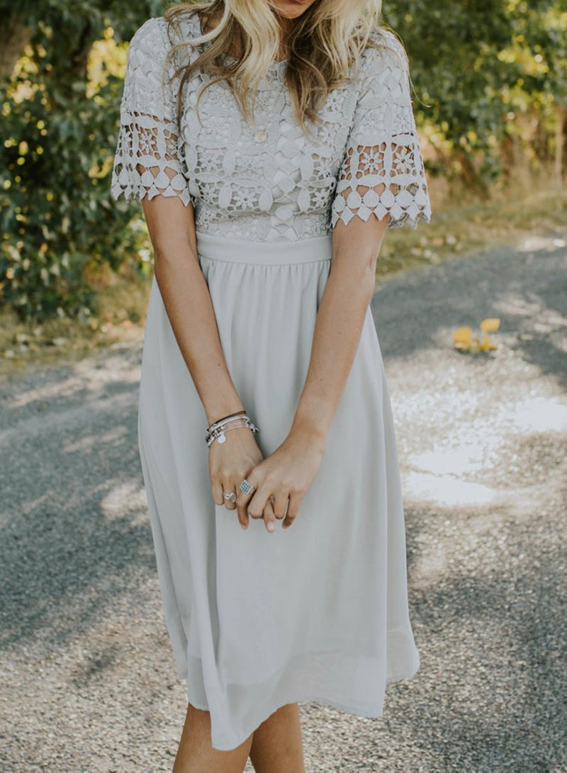 Solid Color Short-sleeved Round Neck Lace Dress