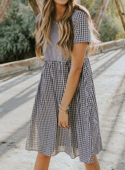 Sweet Casual Striped Short Sleeved A-line Dress