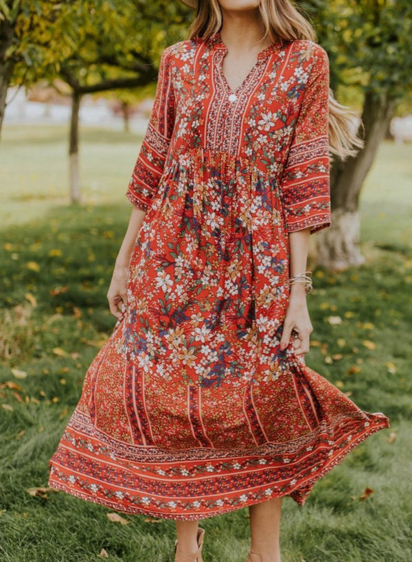 V-neck 3/4 Sleeve Floral Maxi Dress