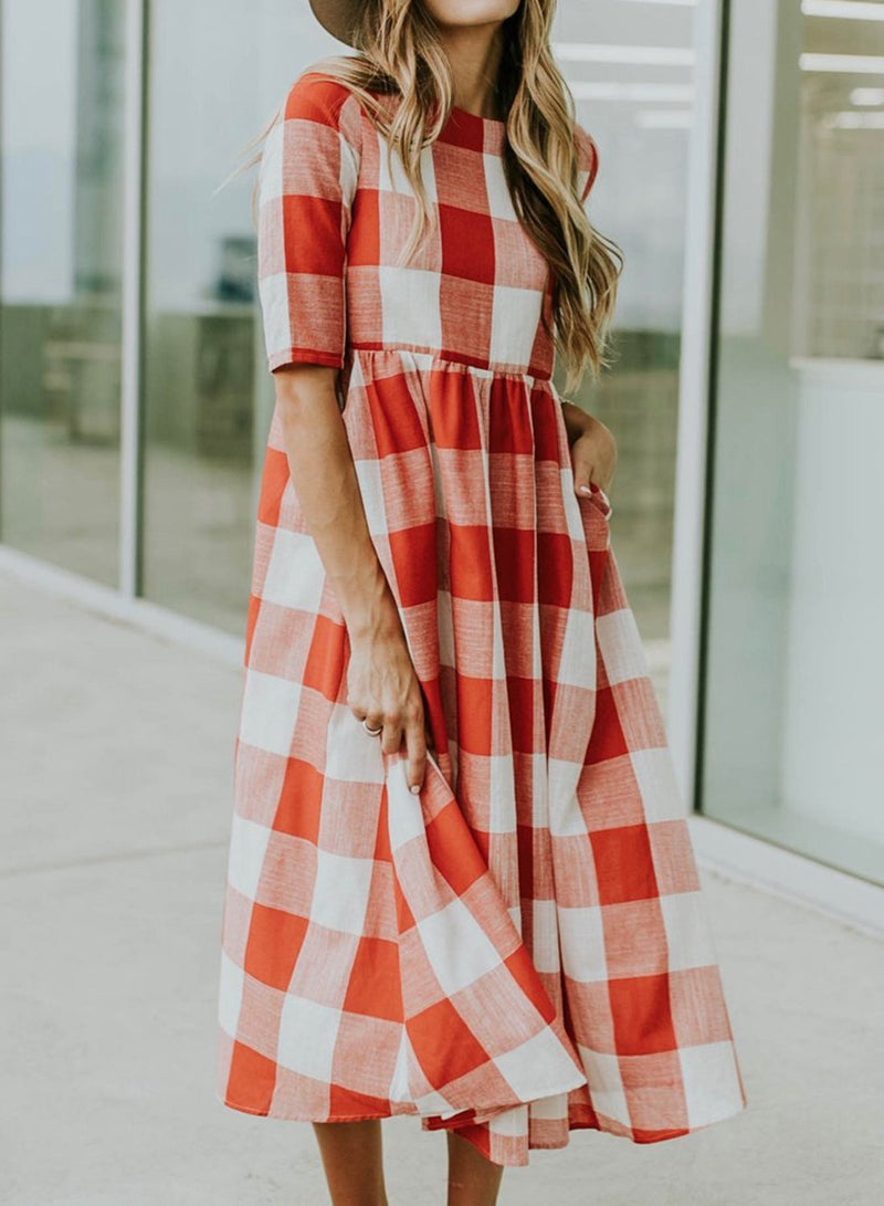 Casual A-line Plaid Midi Dress