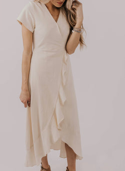 V-neck Ruffled Pocket Maxi Dress