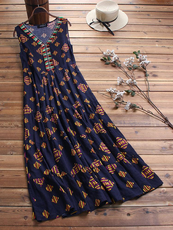 Vintage Ethnic Print Sleeveless V Neck Maxi Dress