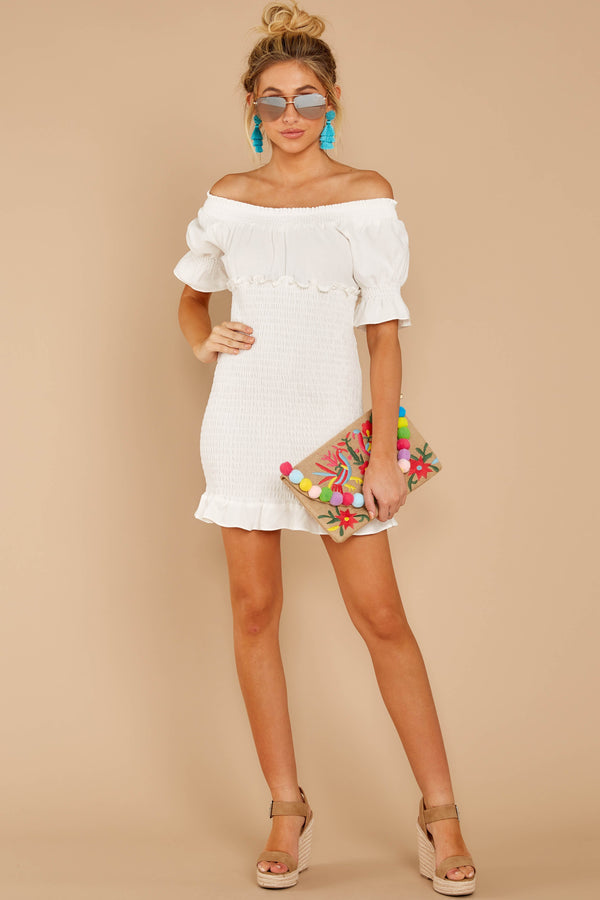 2 Sassy Silhouette White Off The Shoulder Dress at reddressboutique.com