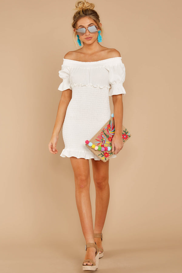 1 Sassy Silhouette White Off The Shoulder Dress at reddressboutique.com
