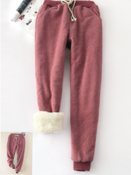 Wine Red Solid Fleeced Cotton Pants
