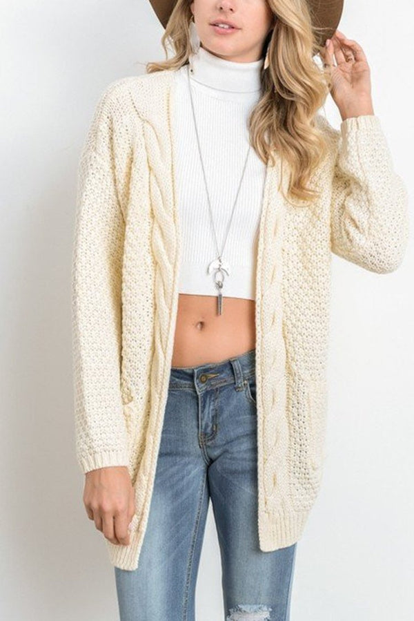Dreamfitting Open Stitch Solid Pockets Cable Female Cardigan