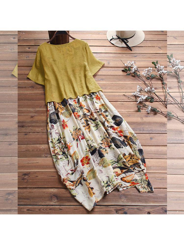 Literary Floral Two-piece Set Linen Dress