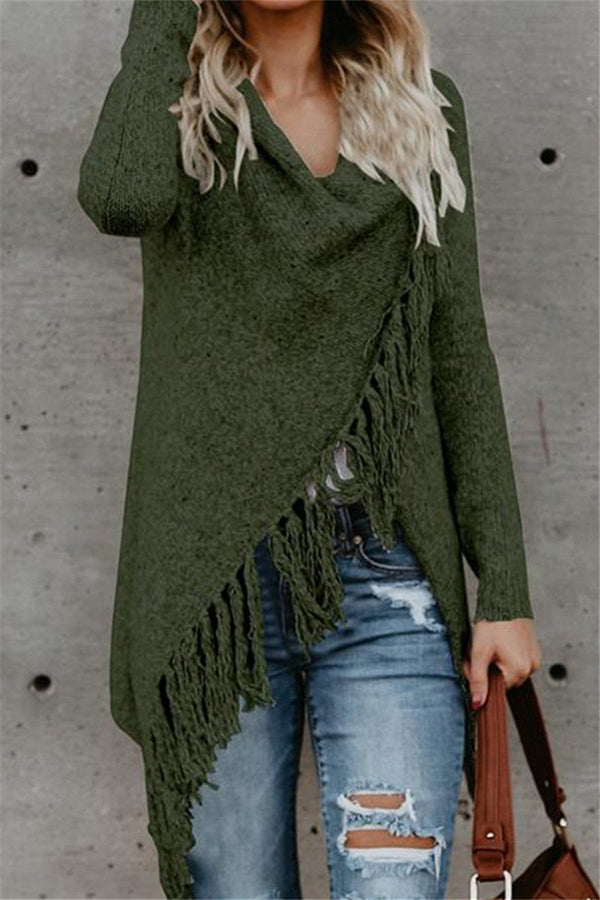 Dreamfitting Long Sleeve Speckled Fringe Open Front Cardigan