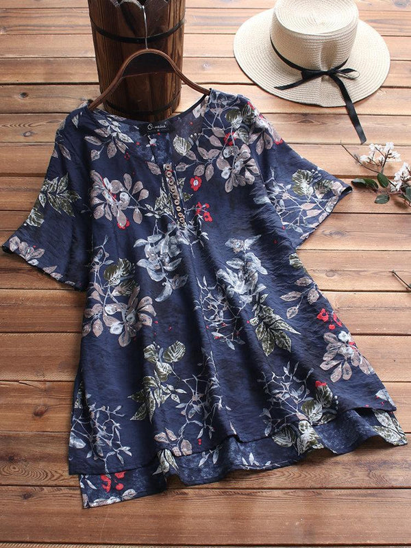 Floral Print Button High Low Short Sleeve Plus Size T-shirt