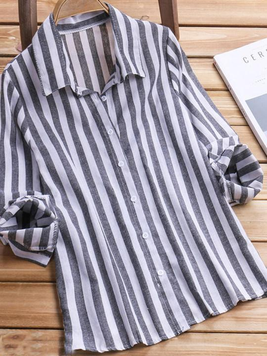 Turn Down Collar Loose Fitting Stripes Blouses