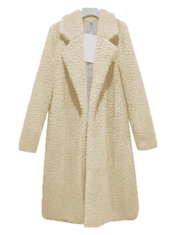 Faux Lamb Cashmere Long Sleeve Solid Color Autumn Winter Long Coat