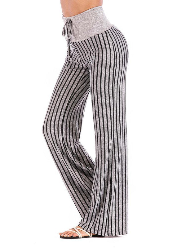 Striped Cotton Elastic Waist Yoga Pants