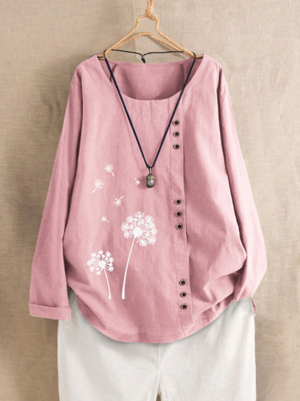 Print Flower Long Sleeve Button Crew Neck Autumn Shirt